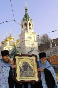 Казанская икона Божией Матери, принесенная на праздник из Спасо-Кафедрального собора