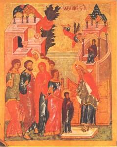 Введение во храм Пресвятой Богородицы. Икона XV в. Новгород