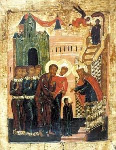 Введение во храм Пресвятой Богородицы. Икона XVI в.