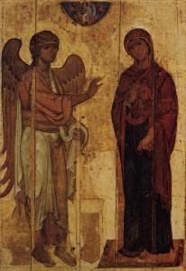 «Устюжское Благовещение», икона начала XII века. Государственная Третьяковская галерея