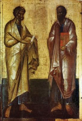 Свв. апостолы Петр и Павел. Икона XIV в. Успенский собор Московского Кремля
