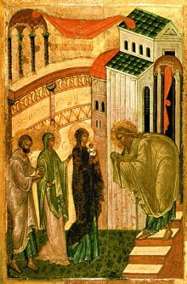 Сретение Господне. Новгородская икона. 70-80 годы XV века.